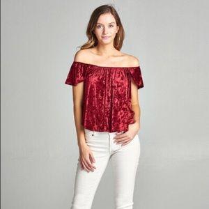 Tops - Women's Velour off the shoulder top